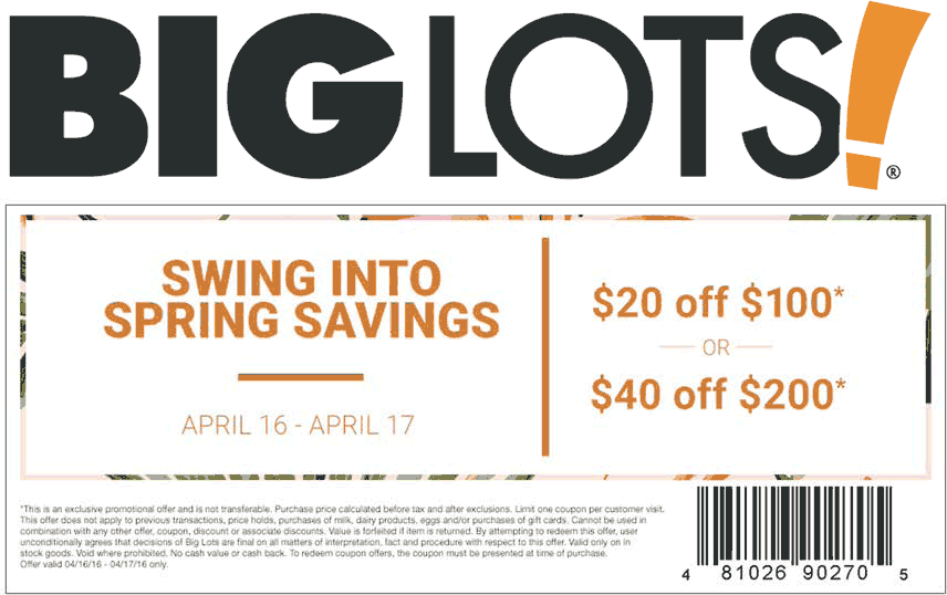 Big Lots Coupon May 2017 $20 off $100 & more at Big Lots