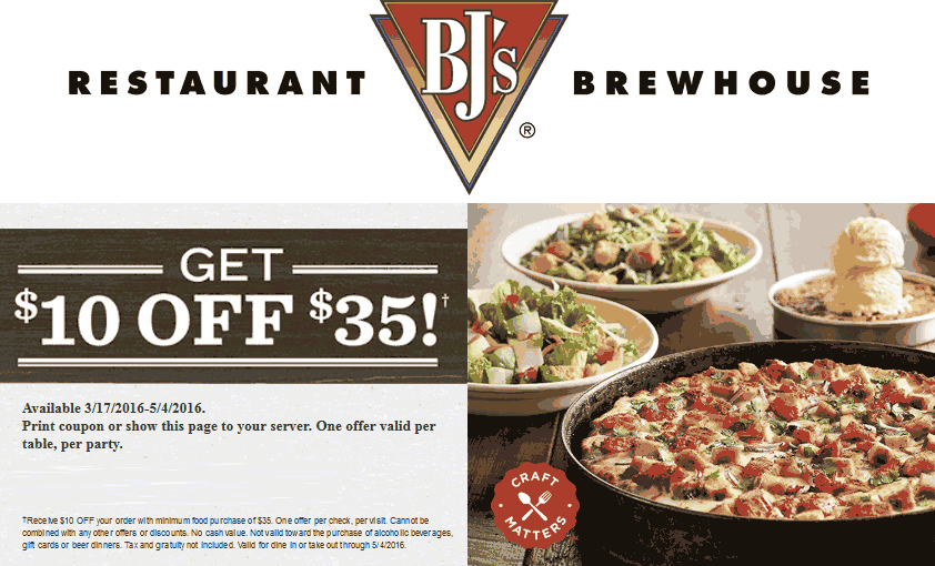 BJs Restaurant Coupon March 2017 $10 off $35 at BJs Restaurant Brewhouse