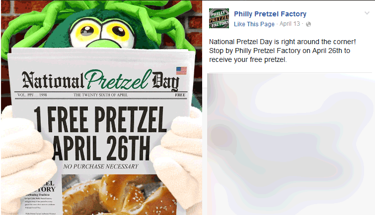 Philly Pretzel Factory Coupon November 2017 Free pretzel the 26th at Philly Pretzel Factory