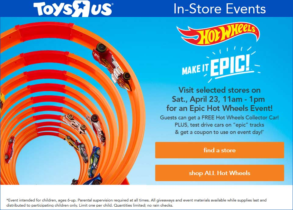 Toys R Us Coupon May 2017 Free Hot Wheels car Saturday at Toys R Us
