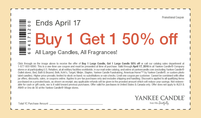 Yankee Candle Coupon May 2017 Second fragrance or large candle 50% off at Yankee Candle, ditto online