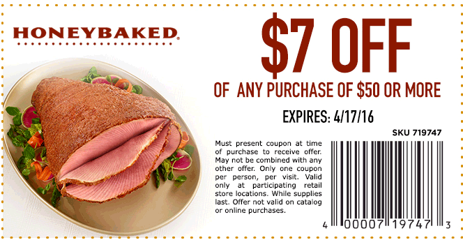 HoneyBaked Coupon February 2018 $7 off $50 today at HoneyBaked ham restaurants