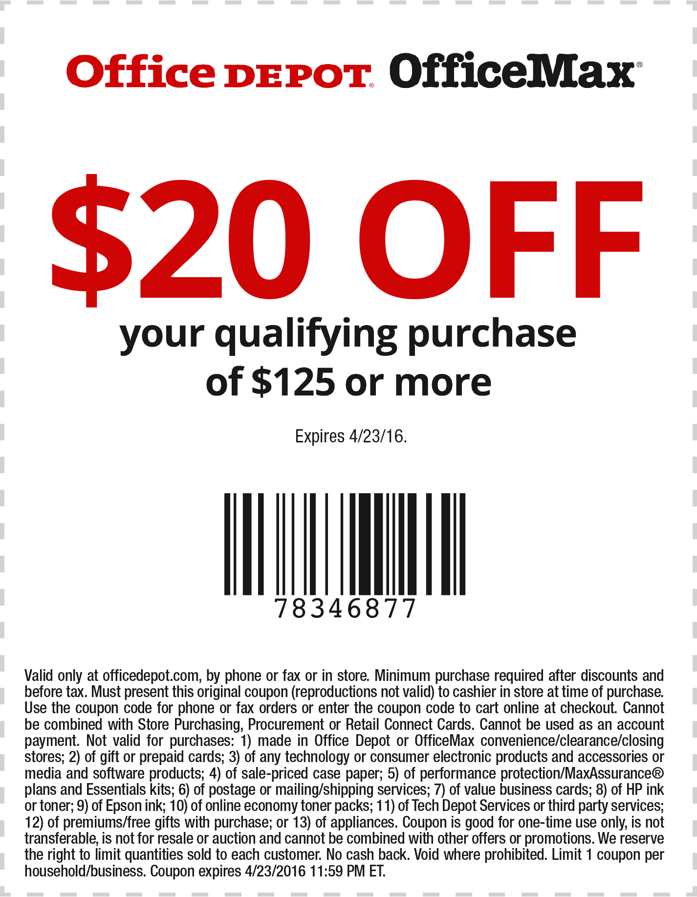 OfficeDepot.com Promo Coupon $20 off $125 at Office Depot & OfficeMax, or online via promo code 78346877