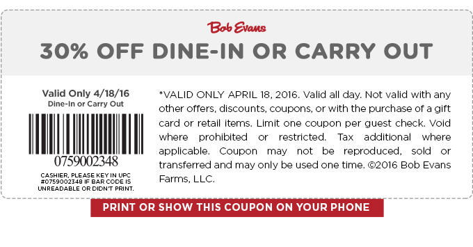 Bob Evans Coupon December 2016 30% off today at Bob Evans restaurants