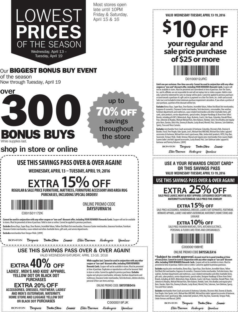Carsons Coupon January 2017 $10 off $25 & more at Carsons, Bon Ton & sister stores, or 25% online via promo code DAYSSALEA16
