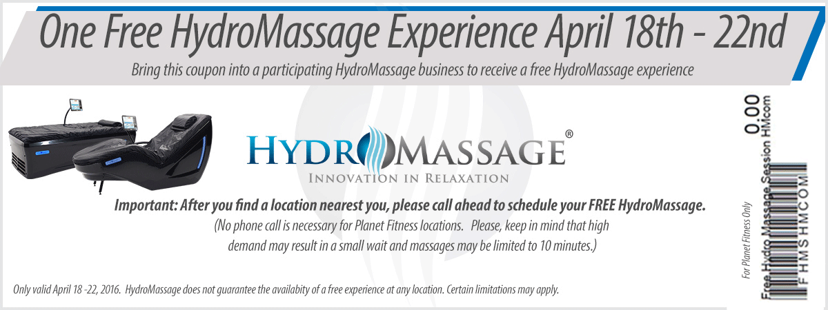 Hydromassage Coupon December 2016 Free massage at HydroMassage