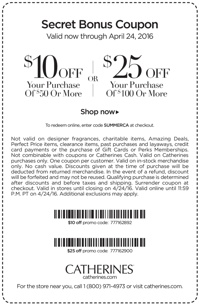 Catherines Coupon January 2018 $10 off $50 & more at Catherines, or online via promo code SUMMERCA