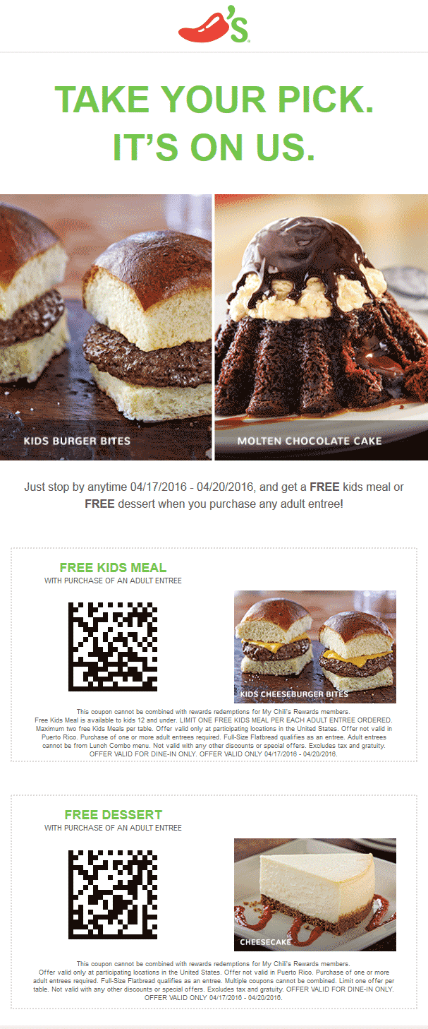 Chilis Coupon January 2017 Kids meal or dessert free with your entree at Chilis