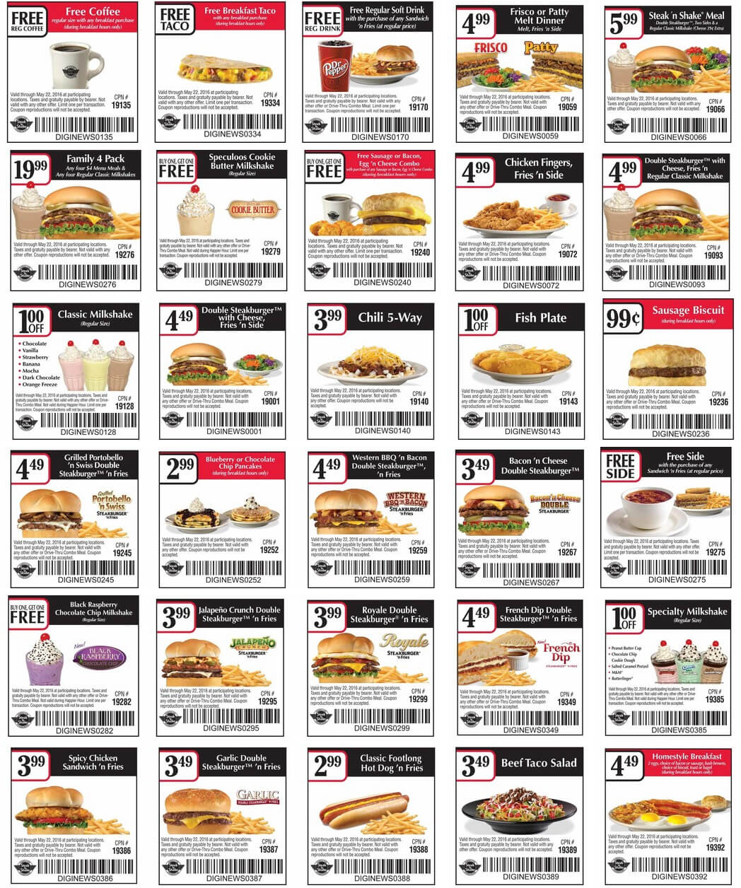 Steak n Shake Coupon December 2016 Free coffee, breakfast taco & more at Steak n Shake