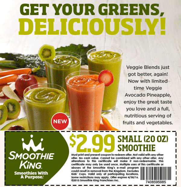 Smoothie King Coupon November 2018 $3 smoothie at Smoothie King