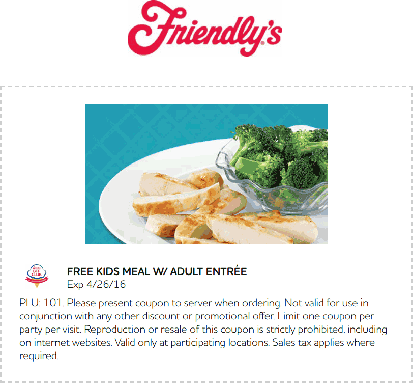 Friendlys Coupon October 2016 Kids meal free with your entree at Friendlys