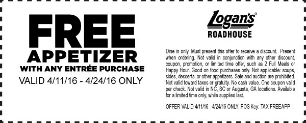 Logans Roadhouse Coupon December 2017 Free appetizer with your entree at Logans Roadhouse