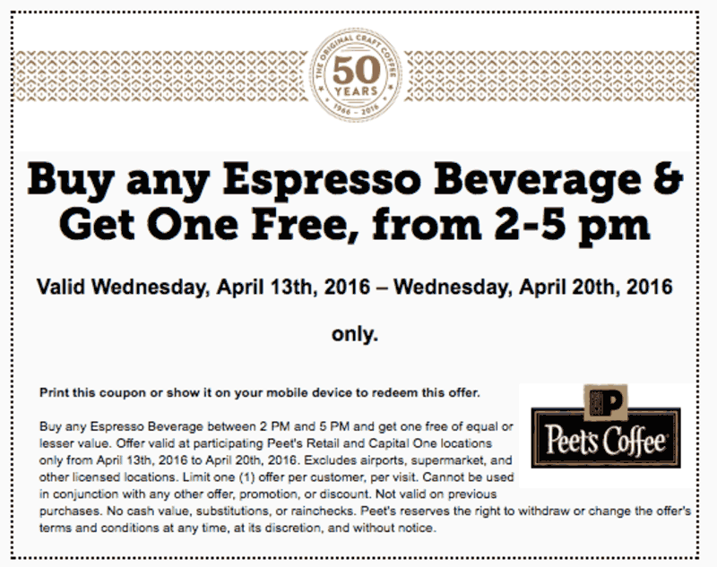 Peets Coffee Coupon February 2018 Second espresso free 2-5pm today at Peets Coffee