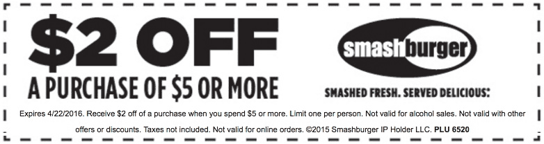 Smashburger Coupon September 2018 $2 off $5 at Smashburger restaurants