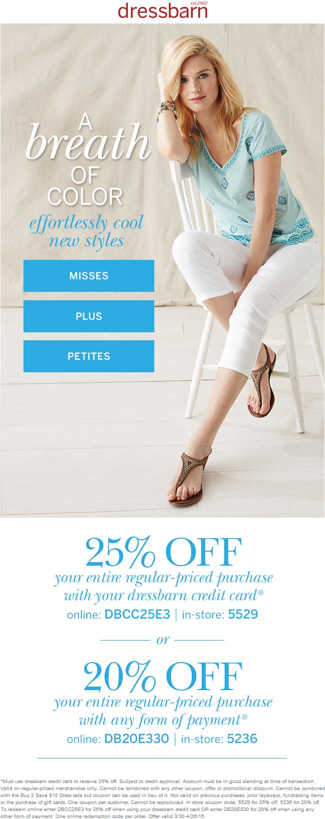 Dressbarn Coupon January 2019 20% off at dressbarn, or online via promo code DB20E330