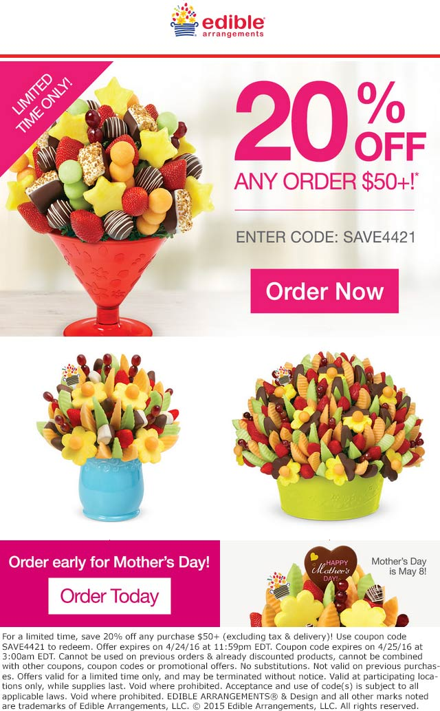 Edible Arrangements Coupon July 2018 20% off $50 at Edible Arrangements via promo code SAVE442