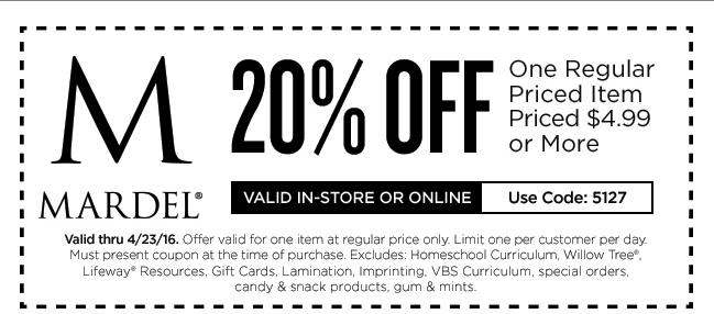 Mardel Coupon October 2016 20% off a single item at Mardel, or online via promo code 5127