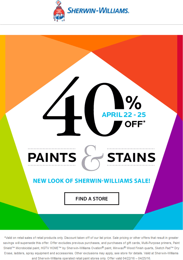 Sherwin Williams Coupon December 2016 40% off paints & stains at Sherwin Williams