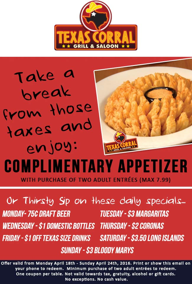 Texas Corral Coupon June 2017 Free appetizer with your entrees at Texas Corral (04/24)