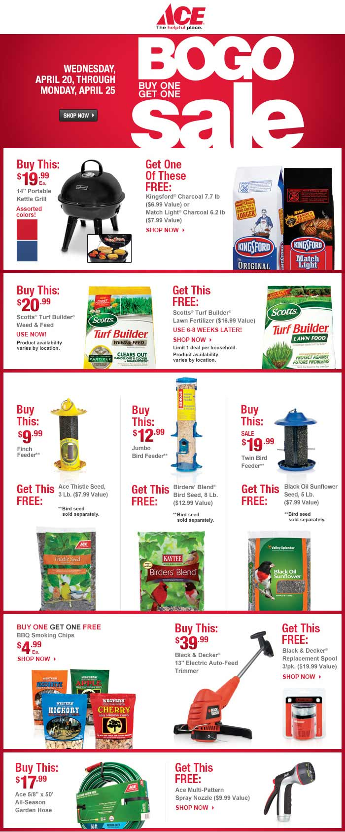 Ace Hardware Coupon September 2018 Spring bogo sale going on in-store & online at Ace Hardware