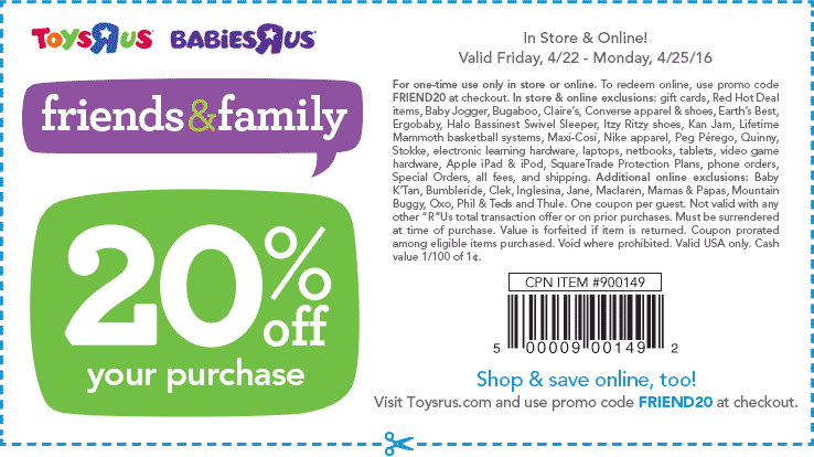 Toys R Us Coupon March 2017 20% off at Toys R Us, or online via promo code FRIEND20