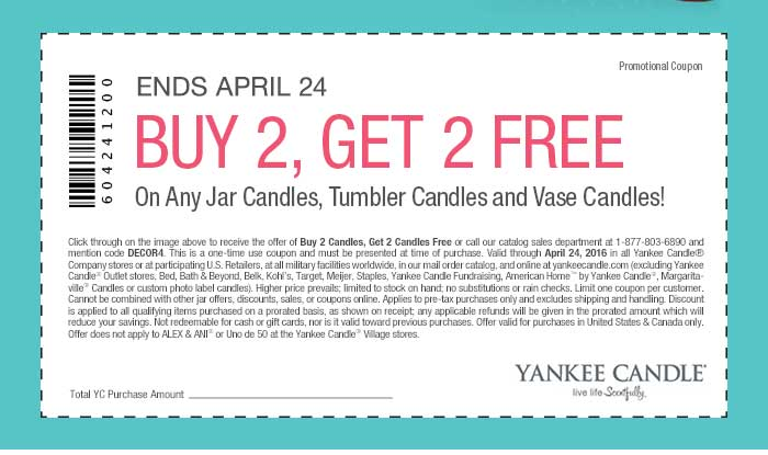 Yankee Candle Coupon October 2016 4-for-2 at Yankee Candle, or online via promo code DECOR4