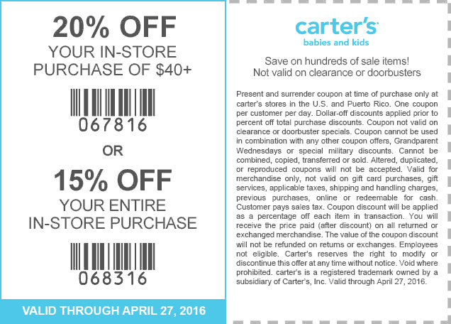 Carters Coupon July 2017 15-20% off at Carters, or online via promo code CAR63016