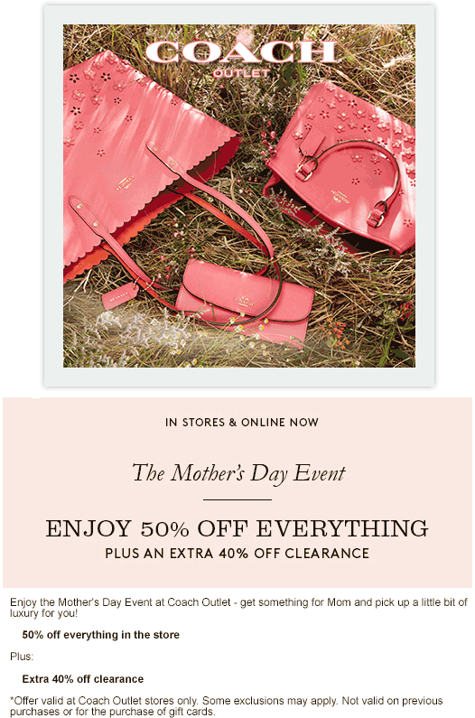 Coach Outlet Coupon November 2018 50% off everything + extra 40% off clearance at Coach Outlet
