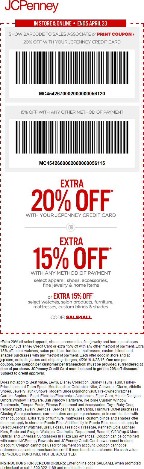 JCPenney Coupon April 2017 15% off today at JCPenney, or online via promo code SALE4ALL