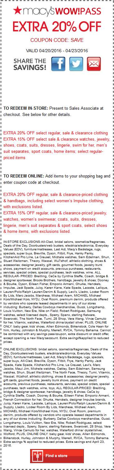 Macys Coupon March 2018 Extra 20% off today at Macys, or online via promo code SAVE