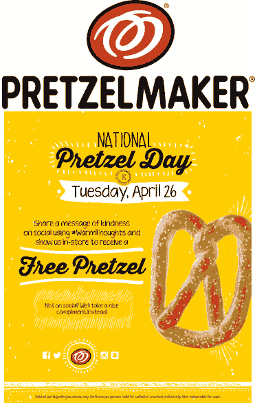 Pretzelmaker.com Promo Coupon Free pretzel Tuesday at Pretzelmaker