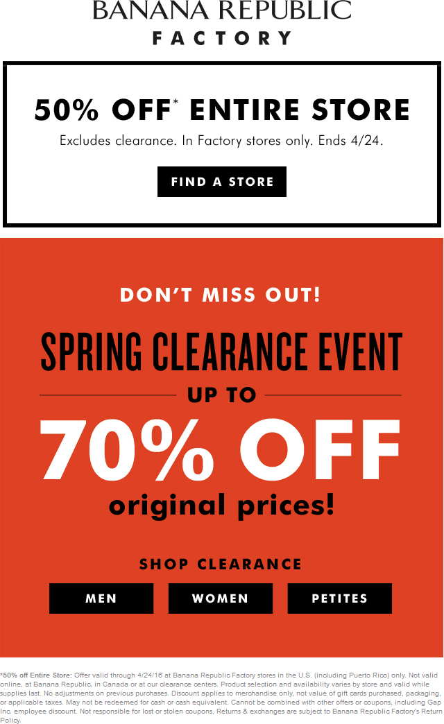 Banana Republic Factory Coupon January 2017 Extra 50% off everything today at Banana Republic Factory