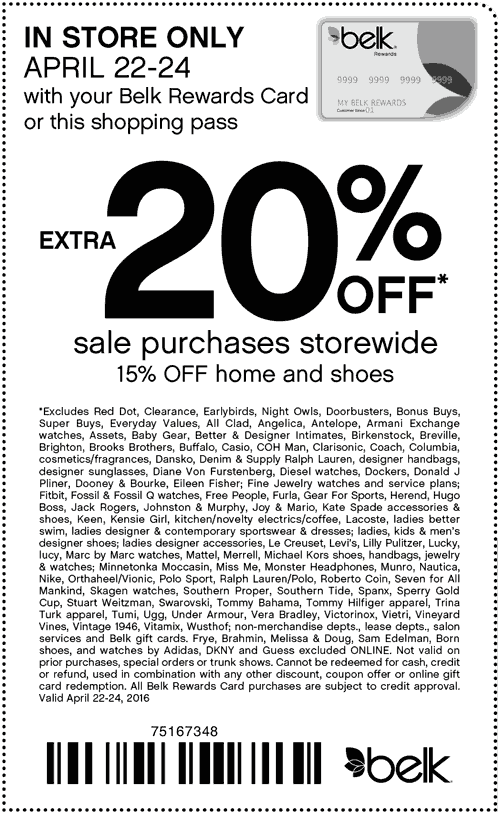 Belk Coupon December 2016 Extra 20% off sale items today at Belk