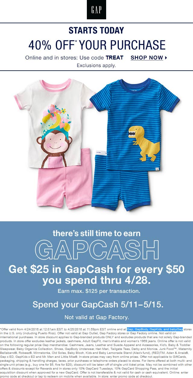 Gap Coupon April 2017 40% off at Gap, GapBody, GapKids, and babyGap, or online via promo code TREAT