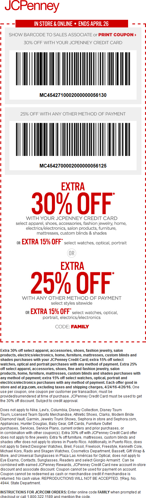 JCPenney Coupon February 2019 Extra 25% off at JCPenney, or online via promo code FAMILY