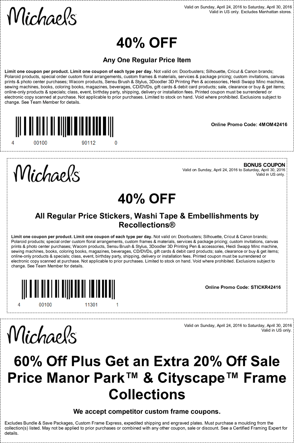 Michaels Coupon April 2017 40% off a single item at Michaels, or online via promo code 4MOM42416