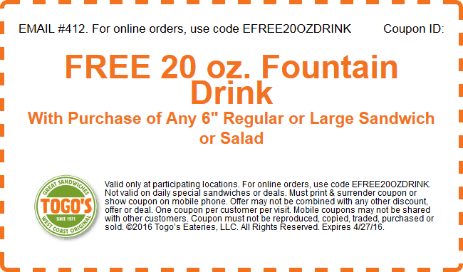 Togos Coupon November 2017 20oz drink free with your sandwich or salad at Togos