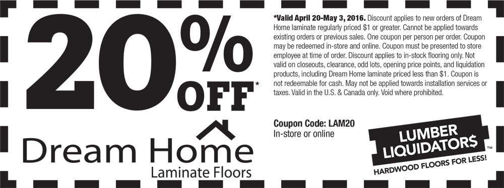 Lumber Liquidators Coupon September 2018 20% off laminate flooring at Lumber Liquidators, or online via promo code LAM20