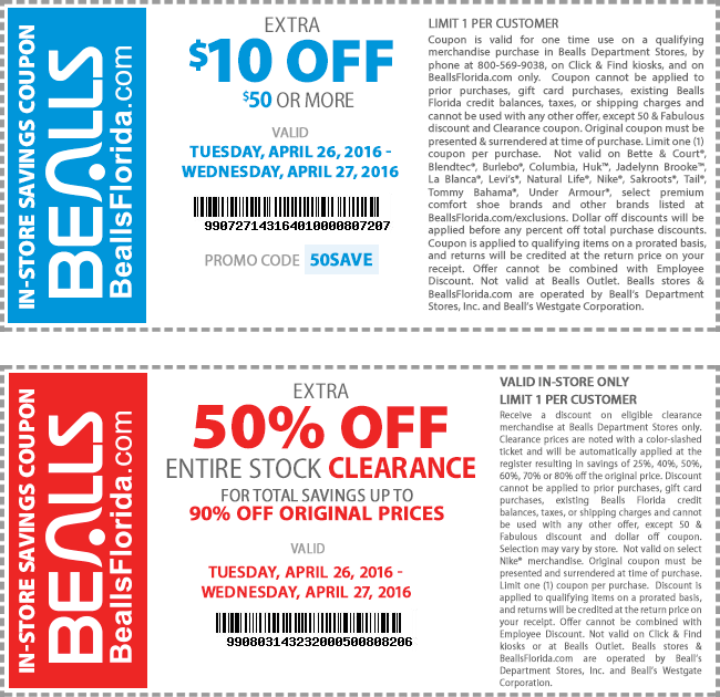 Bealls.com Promo Coupon $10 off $50 & extra 50% off clearance at Bealls, or online via promo code 50SAVE