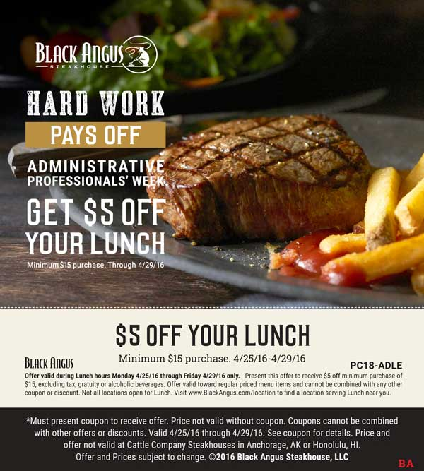Black Angus Coupon October 2017 $5 off lunch at Black Angus steakhouse
