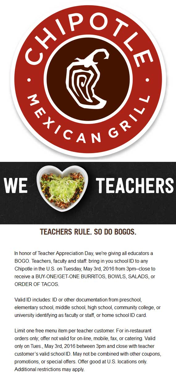 Chipotle Coupon May 2017 Teachers enjoy a second free burrito, bowl, salad or tacos Tuesday at Chipotle