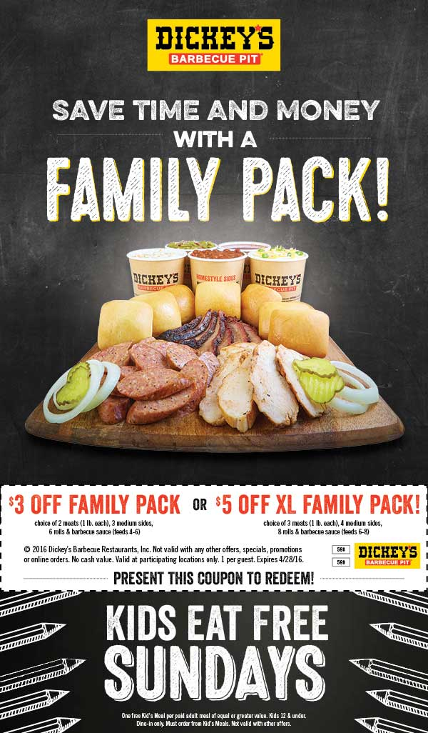 Dickeys Barbecue Pit Coupon June 2017 $3-$5 off a family meal at Dickeys Barbecue Pit