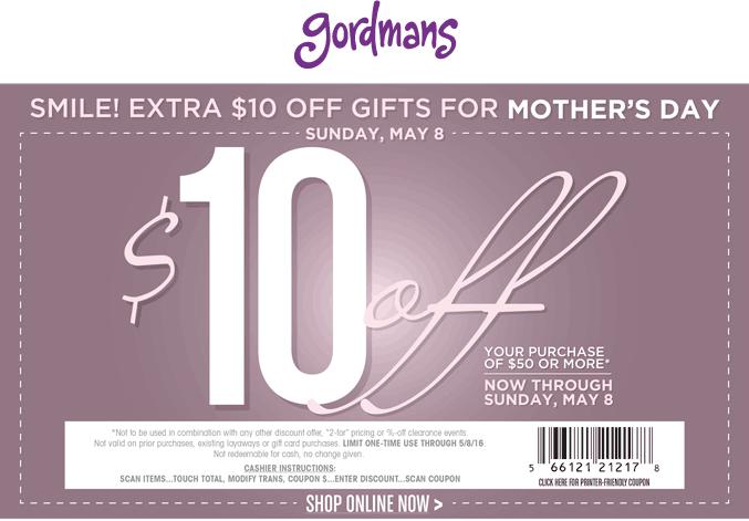 Gordmans Coupon December 2016 $10 off $50 at Gordmans
