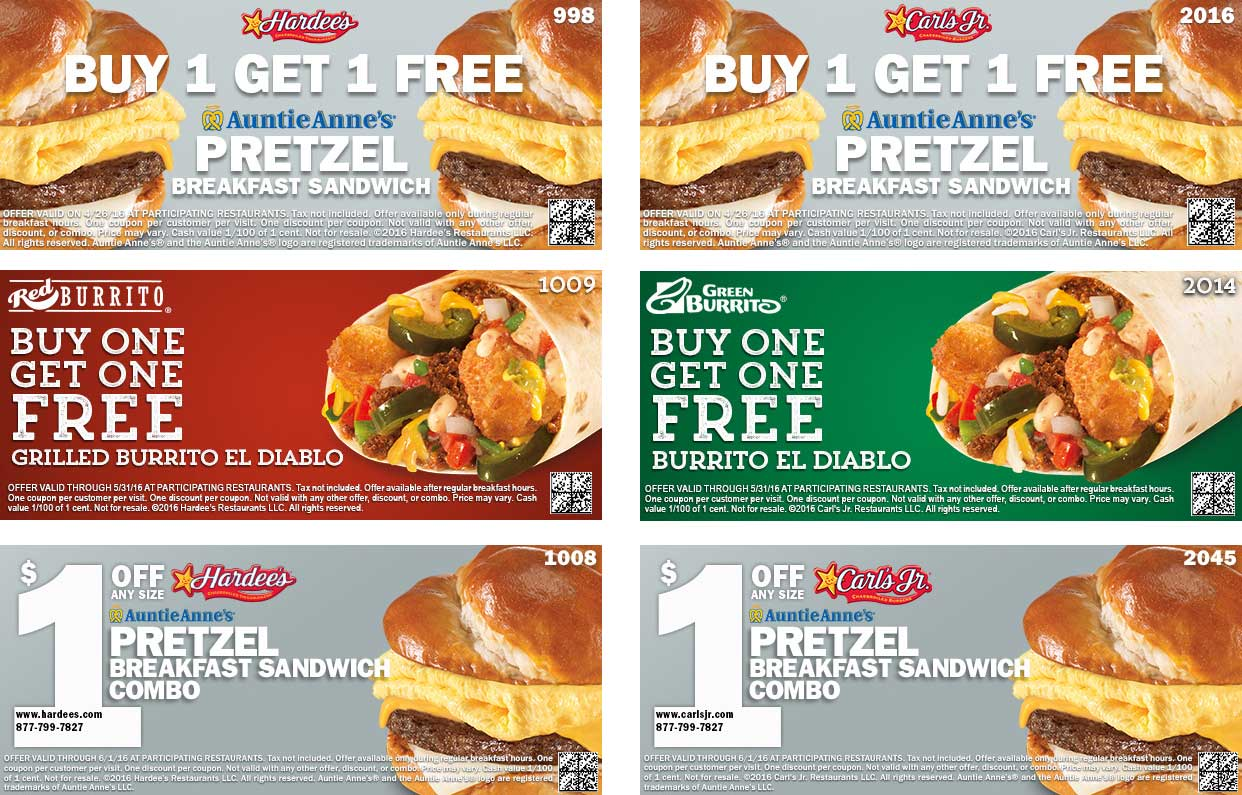 Hardees Coupon November 2017 Second breakfast sandwich free & more today at Hardees & Carls Jr.