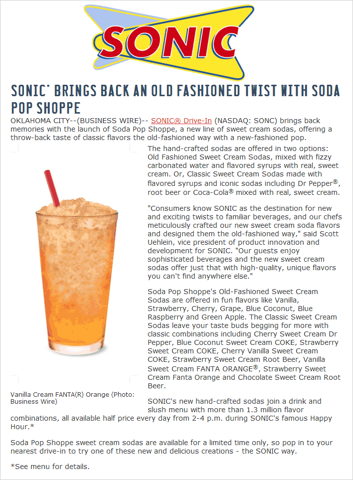 Sonic Drive-In Coupon March 2017 50% off drinks & slushes 2-4p daily at Sonic Drive-In