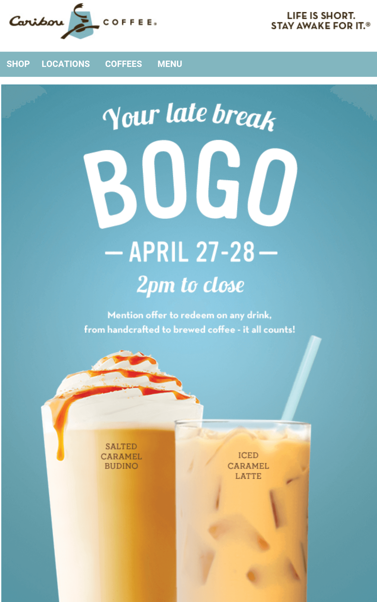 Caribou Coffee Coupon April 2019 Second drink free after 2p today at Caribou Coffee