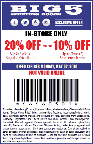 Big 5 Coupon April 2017 20% off a couple items at Big 5 sporting goods