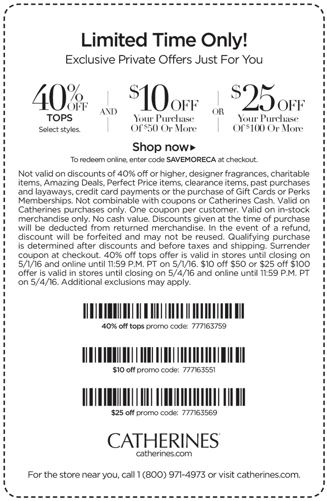 Catherines Coupon October 2017 $10 off $50 & more at Catherines, or online via promo code SAVEMORECA