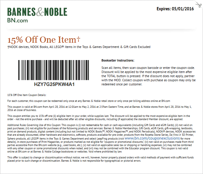 Barnes & Noble Coupon August 2017 15% off a single item at Barnes & Noble