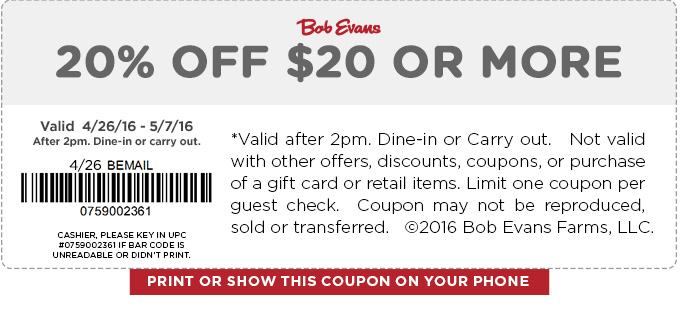 Bob Evans Coupon June 2017 20% off $20 at Bob Evans restaurants